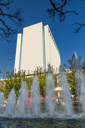 Athens, Greece – October 24 The Hilton Athens Hotel, fountain in foreground on October 24 2018 in Greece. Editorial