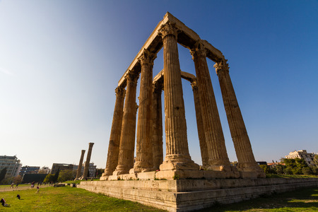 Athens, Greece – Temple of the Olympian Zeus, Athens, Greece with tourists on October 24 2018 in Greece.