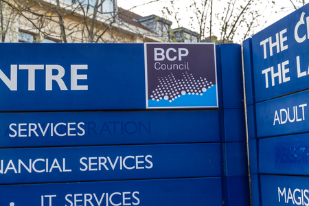 Bournemouth, England – BCP Bournemouth, Christchurch and Poole Council, sign at Poole Civic Centre created April 1 2019 on March 30 2019 in UK. Редакционное