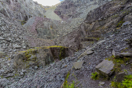 Spoil heaps of a disused slate quarry.
