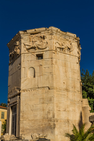 Tower of the Winds or the Horologion of Andronikos Kyrrhestes at the  Roman Agora  in Athens, Greece. Imagens