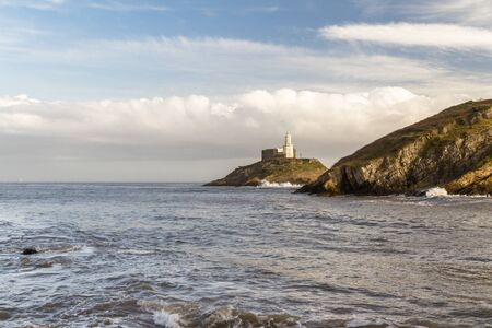 Wide angle view of the Mumbles and the lighthouse, Swansea Wales, wide angle.