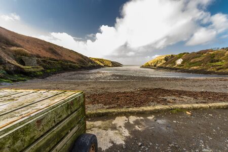 Abercastle Harbour, Pembrokeshire, Wales, UK, wide angle. Imagens