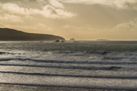 Waves crashing on beach on stormy day, Whitesands Bay, St Davids, Wales Imagens