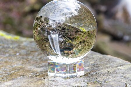 Crystal ball view of Melincourt Water Fall in full February flow.