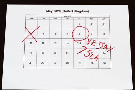 UK may bank holiday moved from 4 to 8 May 2020 to celebrate 75 years of end of WWII VE Day on calendar, landscape Imagens