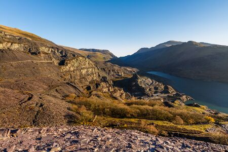 Dinorwic Slate quarry, upper part with Lake and Mountains and lake Peris. Llanberis, North Wales.
