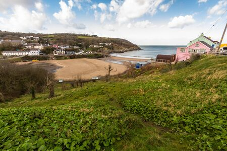 Aberporth Village and Harbour, Ceredigion, Wales, UK.