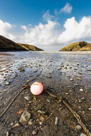 Abercastle Harbour, Pembrokeshire, Wales, UK, wide angle, portrait with red buoy. Imagens
