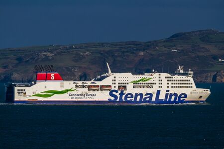 Holyhead, Wales – Editorial, Stena Line Ferries Ferry ship coast in background, landscape, on November  18 2018 in UK