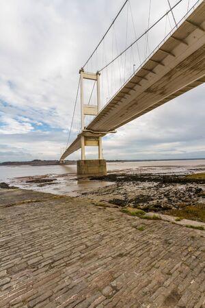 The Severn Crossing suspension Bridge north side, Portrait. Beachley, England, United Kingdom