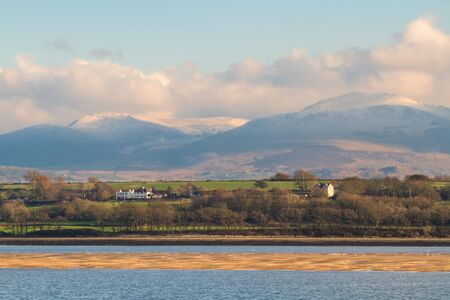 Looking from Anglesey across the menai straits at Snowdonia, landscape