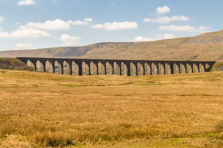 Ribblehead Viaduct, landscape. North Yorkshire, Europe, England. Фото со стока