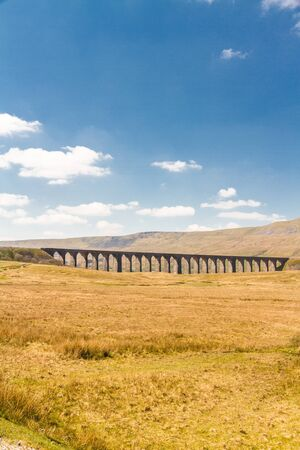 Ribblehead Viaduct, landscape. North Yorkshire, Europe, England, copy space at top.
