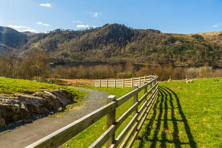 New Fence in foreground of Thirlmere Lake in the Lake District National Park, England, UK, Landscape