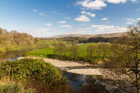 River Lune from Ruskins View, Kirkby Lonsdale, Cumbria, England, landscape, wide angle.