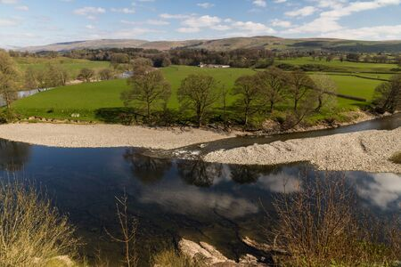 River Lune from Ruskins View, Kirkby Lonsdale, Cumbria, England, landscape. Фото со стока