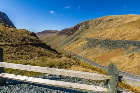 Honister Pass Road, in the Lake District National Park, England, UK, Landscape