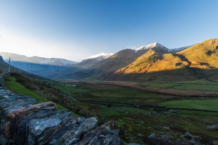 Early morning view from nant Ffrancon Pass of mountain Foel Goch. Snowdonia national Park, Gwynedd, Wales, UK. Landscape.