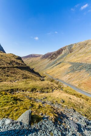 Honister Pass Road, in the Lake District National Park, England, UK, portrait Фото со стока