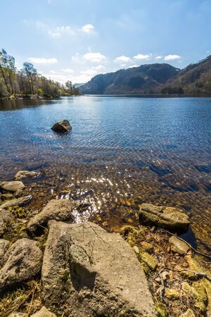 Banks of Thirlmere Lake in the Lake District National Park, England, UK, Portrait