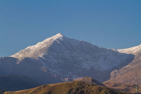Snow on the Peak of Mount Snowdon, North Wales, landscape.