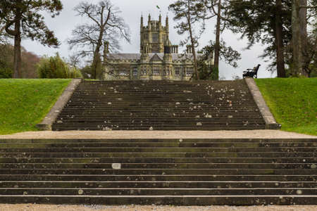 Port Talbot, United Kingdom, Steps leading up to Margam Castle, Margam Country Park, Port Talbot, United Kingdom, landscape, on December 13 2019 in Wales, United Kingdom Редакционное