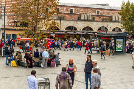 Istanbul, Turkey, Square outside of the Spice market in Istanbul, on October 30 2019 in Istanbul, Turkey Редакционное