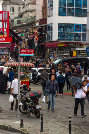 Istanbul, Turkey, Busy street and shops in Eminonu area of Istanbul, portrait on October 30 2019 in Istanbul, Turkey