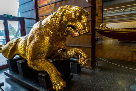 Istanbul, Turkey, golden lion figurehead in the Maritime Museum on October 30 2019 in Istanbul, Turkey Редакционное