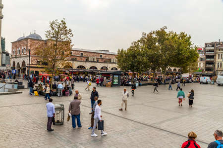 Istanbul, Turkey, Square outside of the Spice market in Istanbul, landscape, wide angle on October 30 2019 in Istanbul, Turkey