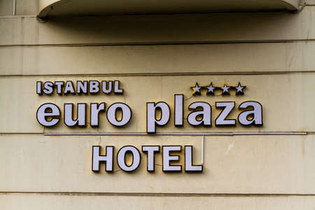 Istanbul, Turkey, sign for Istanbul Euro Plaza Hotel on October 30 2019 in Istanbul, Turkey