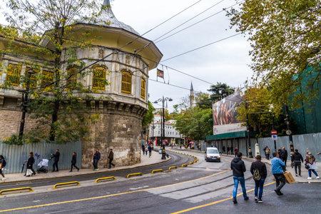Istanbul, Turkey, Alemdar Caddesi, road by Topkapi wall, landscape on October 30 2019 in Istanbul, Turkey Редакционное