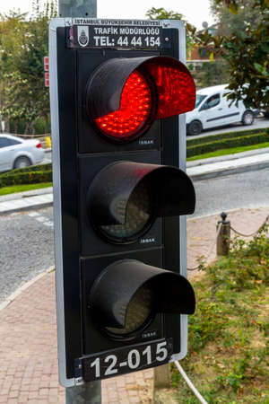 Istanbul, Turkey, Traffic Light on red in Istanbul, close up, on October 30 2019 in Istanbul, Turkey
