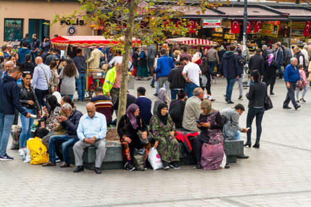 Istanbul, Turkey, Square outside of the Spice market in Istanbul, landscape on October 30 2019 in Istanbul, Turkey Редакционное