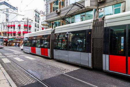 Istanbul, Turkey, Tram on hudavendigar caddesi road on October 30 2019 in Istanbul, Turkey