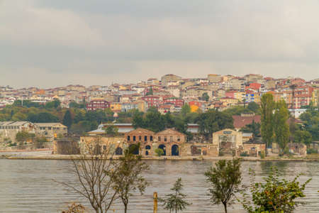Looking across river to North bank of Golden Horn Bosphorus in Istanbul, Turkey