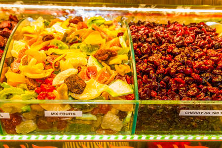 Trays of dried fruit in market, Istanbul, Turkey. Фото со стока