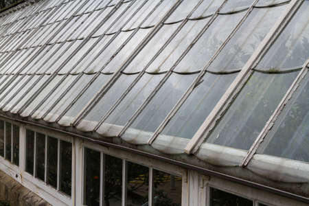 Background or detail of vintage greenhouse, landscape Фото со стока