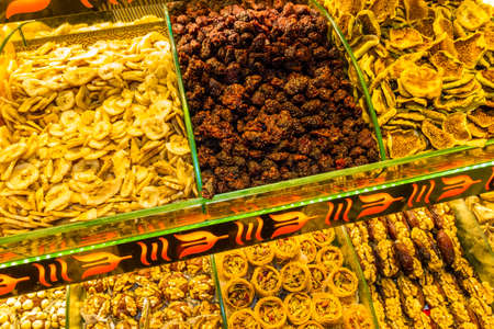 Trays of dried fruit and sweets in market, Istanbul, Turkey