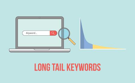 Long-Tail-Schlüsselwörter mit Laptop- und Grafikdiagrammillustrationsvektorillustration