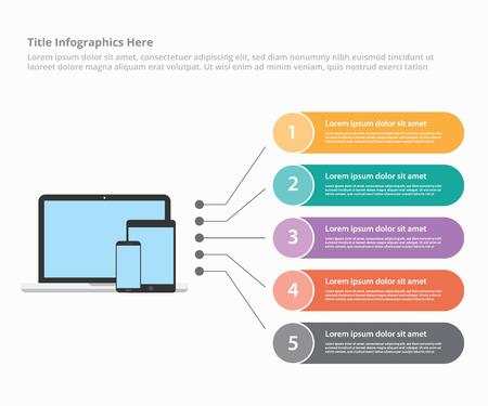 various mobile platform device laptop smartphone tablet infographic template banner website or brochure print for information statistic - vector illustration