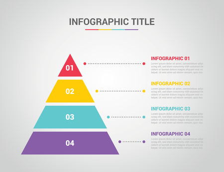 infographic template with pyramid style with free space text for description with 4 four step process with text on the right - vector illustration