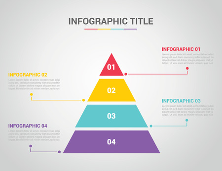 infographic template with pyramid style with free space text for description with 4 four step process with text on the right and left - vector illustration