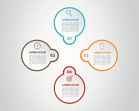 infographic 4 data template process list with center focus - vector illustration