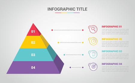 Plantilla de infografía piramidal 3D con 4 pasos o proceso para diagramas de banners - vector