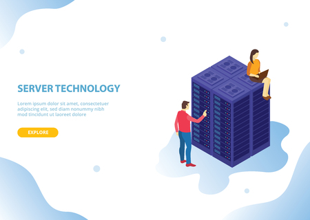 cloud server hosting technology with isometric style and people with modern blue style - vector