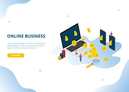 online business income or profit with isometric style - vector illustration Illustration
