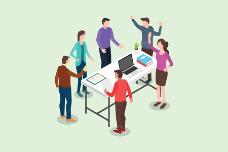 isometric stand up or standing meeting concept for modern agile methodology workflow daily routines - vector illustration