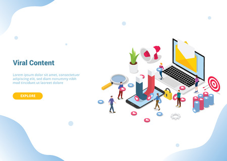 isometric viral content social media marketing web or website template landing homepage banner - vector illustration